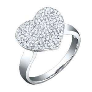 3/4 Carat Pave Diamond 14k White Gold Heart Ring Jewelry