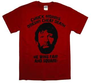 Chuck Norris Cheats Death Funny Famous Icon T Shirt Tee