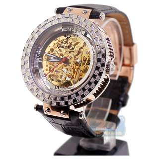 Automatic Round Rose Gold Plated 1.25 ct Diamond Mens Watch