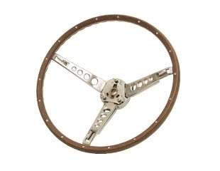 MUSTANG DELUXE PONY WOODGRAIN STEERING WHEEL ASSEMBLY with CENTER CAP
