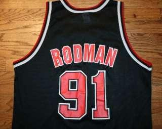 #91 Chicago BULLS Black CHAMPION NBA JERSEY Mens 48 worm