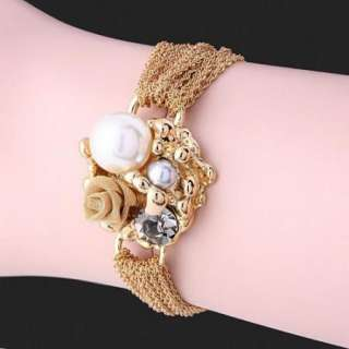ARINNA Swarovski Crystal Pearl Gold GP Fashion Bracelet