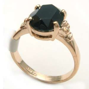 18k Gold Plated Black Crystal  Ring 90407