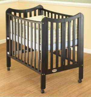 New Orbelle Tian 2 Level Portable Solid Wood Baby Crib   Black Finish
