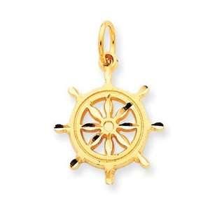 Genuine IceCarats Designer Jewelry Gift 14K Ships Wheel Charm Jewelry