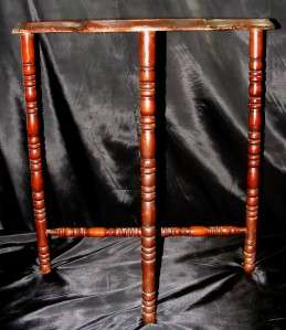 Vintage Solid Wood Half Moon Parlor 3 Spindle LEG Accent Table Cherry