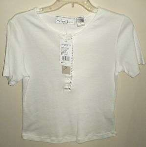NWT Victoria Jones Petite White Womens Shirt Size Small
