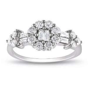 14k White Gold Diamond Ring, Size 6 (0.8 cttw, G H Color