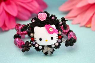 HELLO KITTY BLACK CAMEO BEADED CHARM BRACELET KAWAII