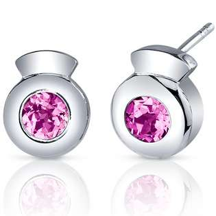 Peora Sleek Radiance 1.50 Carats Pink Sapphire Round Cut Earrings in