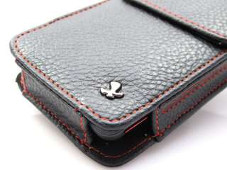 BLK RED Leather Vert Pouch Case Cover HTC EVO 4G 3D
