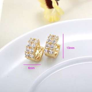 Ideal 9K Gold Filled Womens Hoop Earring ,New Clear CZ