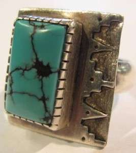 Old Pawn Signed JE Navajo Handmade Sterling Silver and Turquoise Ring