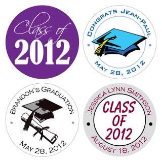 Custom Glossy Graduation Class of 2012 Stickers Kisses Labels