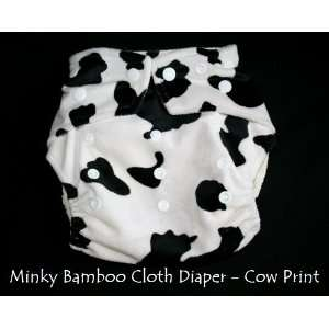 Minky Bamboo Pocket Snaps Cloth Diaper/ Nappy   OS   BLACK COW PRINTS