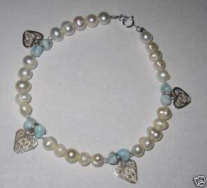 Larimar Love Beads silver heart charms pearls bracelet
