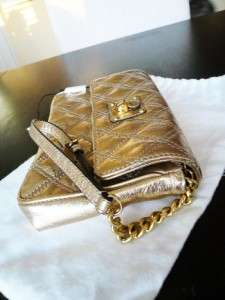 425   NWT Authentic MARC JACOBS Gold Leather Quilted Wristlet Clutch