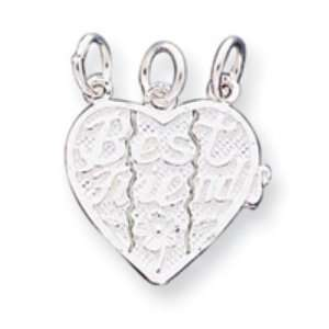 Sterling Silver Best Friends 3 piece break apart Heart Charm Jewelry