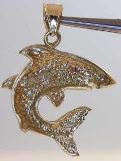 14k yellow gold Shark ruby eye pendant madallion charm estate antique