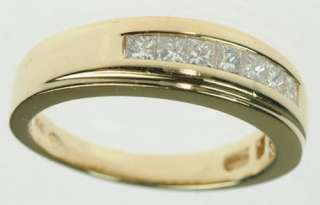 MENS 14K YELLOW SOLID GOLD DIAMOND WEDDING BAND ESTATE RING J179304