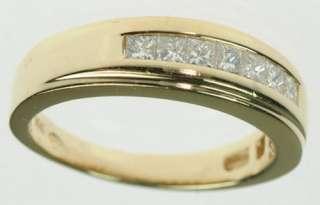 MENS 14K YELLOW SOLID GOLD DIAMOND WEDDING BAND ESTATE RING J179304