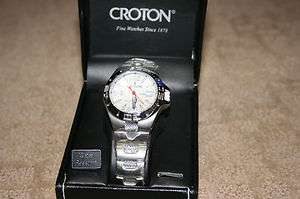 CROTON MENS AQUAMATIC SPORTS WATCH W/MESH INLAY BRACELET_WHITE DIAL
