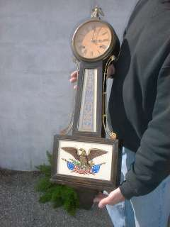 American flag+eagle New Haven LARGE Banjo Clock wall clock,working