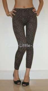 brown leopard print leggings tight pants XS/S pt346 NEW