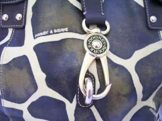 Tulip Giraffe Print Shoulder Bag Leather with Logo Front Lock