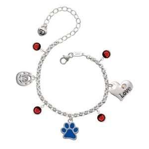 Royal Blue Paw Love & Luck Charm Bracelet with Siam Swarov Jewelry
