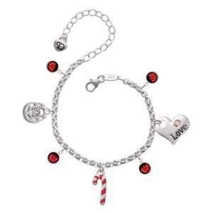 Candy Cane Love & Luck Charm Bracelet with Siam Swarovski  Jewelry