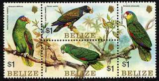 BELIZE PARROTS   TROPICAL BIRD STAMPS   MINT BLOCK OF 4