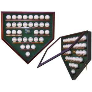 : 30 Ball Home Plate 500 Home Run Club Display Case   Glass Baseball