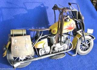HANDMADE METAL DIE CAST YELLOW VINTAGE MOTORCYCLE NEW