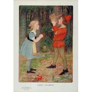 1910 Hansel and Gretel Fairy Tale M L Kirk Color Print   Original