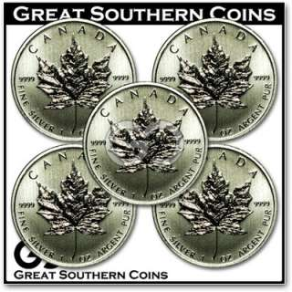 2012 Canadian Maple Leaves 5   1 oz FINE SILVER Coins **ALL GEMS