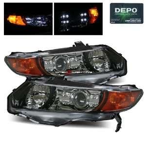 08 Honda Civic 2 Door Projector Headlights by DEPO   Black Automotive