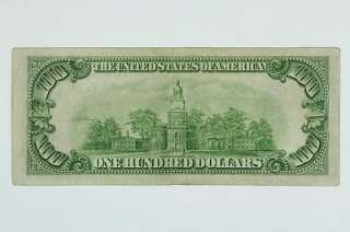 1934 A Hundred Dollar $100 Federal Reserve Bank New York Green Seal