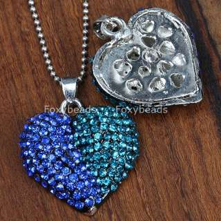 Blue & Green Crystal Heart Necklace Bead Pendant C32