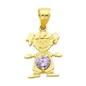 14K Yellow Gold June CZ Birthstone Girl Charm Pendant for Baby