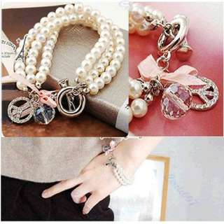 Fashion Beauty Pearl Chain Rhinestone Bracelet Bangle Bead