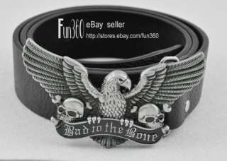 Skull MOTORCYCLE BIKER ANIMAL Pewter Buckle Genuine Leather Belt