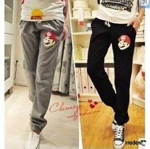 Super Mario Black / Grey Women Lovely Casual Sports Long Trousers