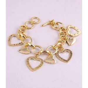 Fashion Jewelry Charm Bracelet with Hart Pattern Gold