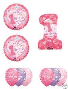 GIRL Princess #1 1st One Birthday Party Balloons Set