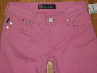 ROCK & REPUBLIC Pink Crystal Studded Bootcut Jeans 24