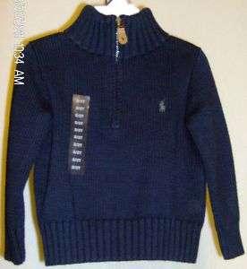 Polo Ralph Lauren Boys Sweater 2T Navy Green Pony NWT 0885031795954