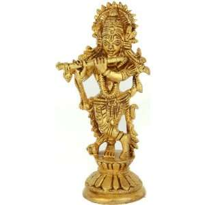 Lord Krishna   Brass Sculpture:  Home & Kitchen