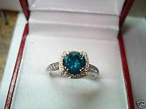 PLATINUM BLUE & WHITE DIAMOND COCKTAIL RING SI1 1.34ct