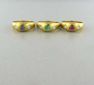 18K YELLOW GOLD EMERALD SAPPHIRE RUBY DIAMOND GYPSY RING SET